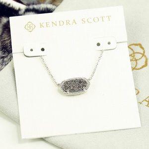 Kendra Scott Elisa Necklace Platinum Drusy Silver
